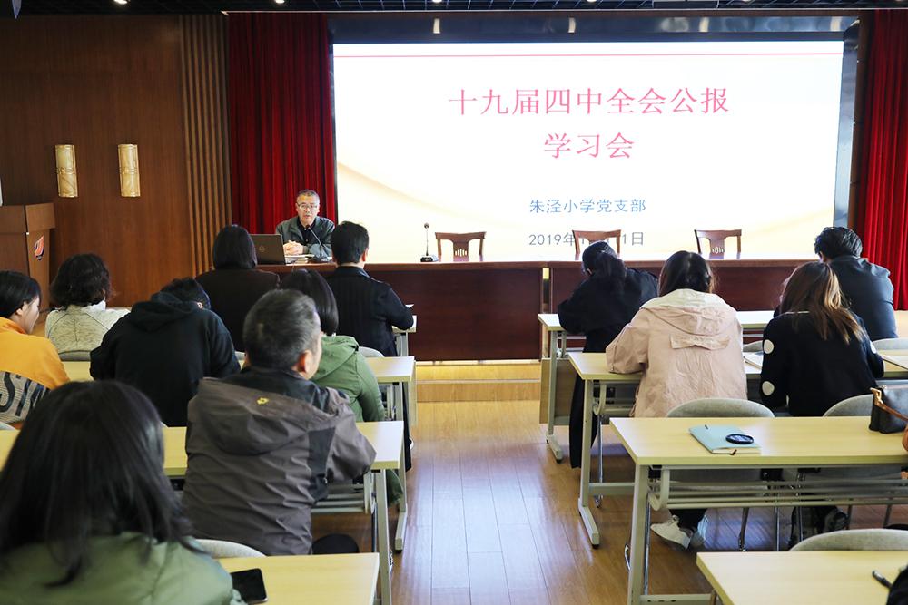 朱泾小学组织十九届四中全会公报学习会